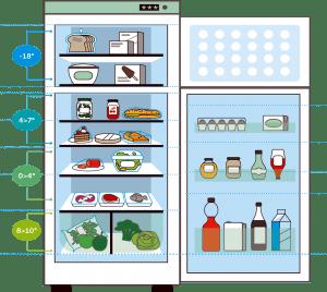 Schikken  voeding in koelkast