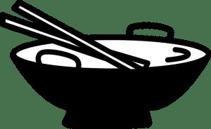 Het gebruik van de wok om in de keuken een maaltijd te bereiden.